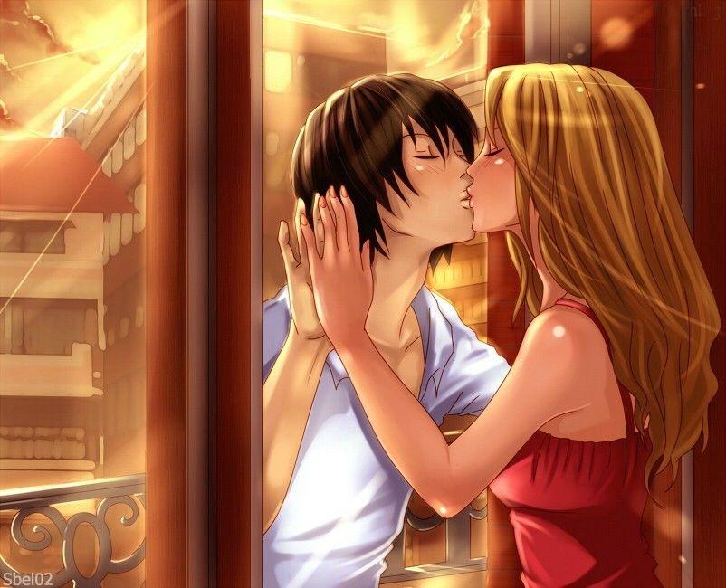 Красивые картинки аниме, где персонажи целуются (21)