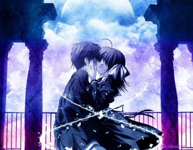 Красивые картинки аниме, где персонажи целуются (23)