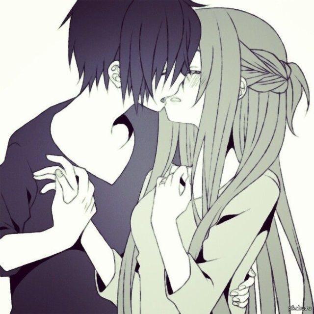 Красивые картинки аниме, где персонажи целуются (24)