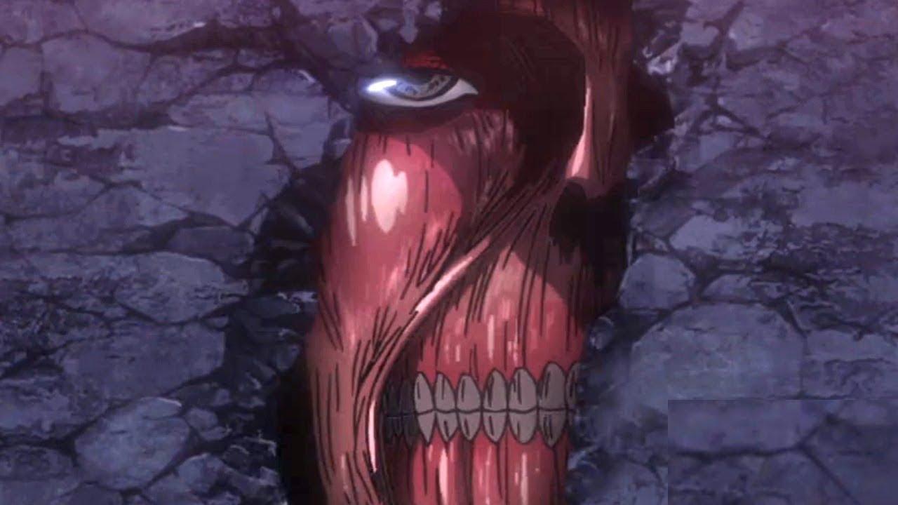 Лицо колоссального титана, который находится в стене