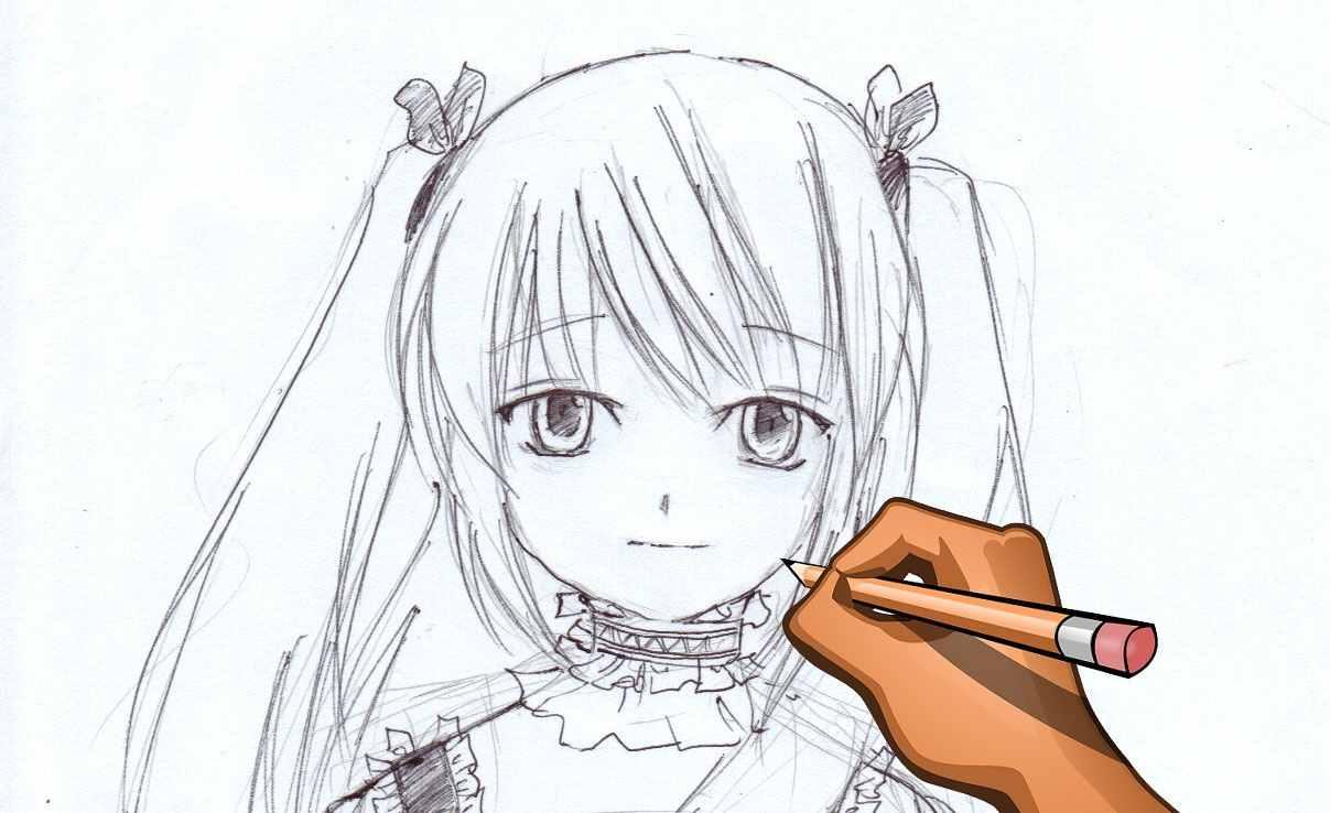 Лёгкие аниме картинки для срисовки, скачать бесплатно 19