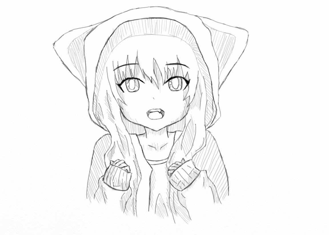 Лёгкие аниме картинки для срисовки, скачать бесплатно 22
