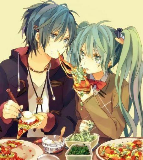 Мику и Кайто любовь   сборка артов (10)