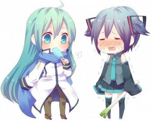 Мику и Кайто любовь   сборка артов (16)