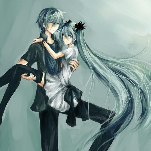 Мику и Кайто любовь   сборка артов (5)