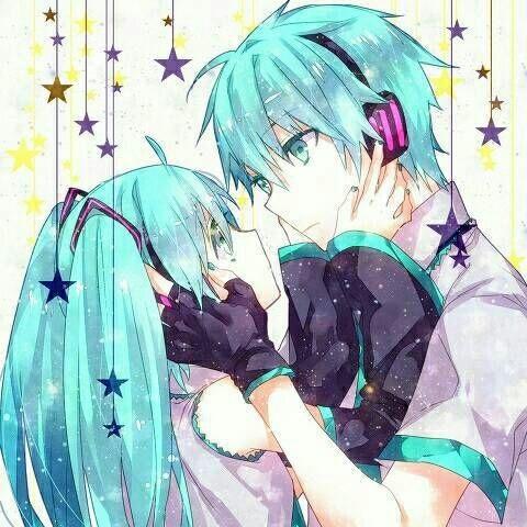 Мику и Кайто любовь   сборка артов (8)