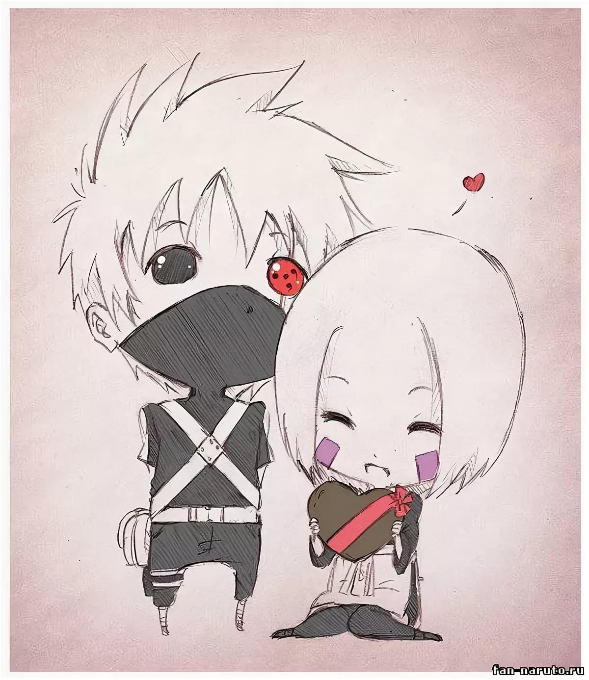 Милые картинки Какаши и Рин, любовь (9)