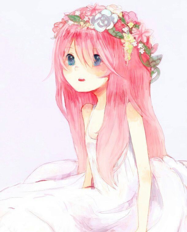 Милые тян с розовыми волосами и розовыми глазами (24)