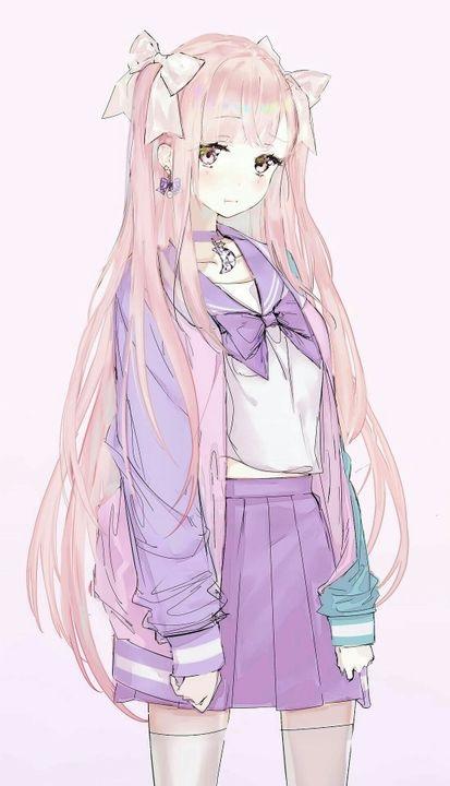 Милые тян с розовыми волосами и розовыми глазами (3)