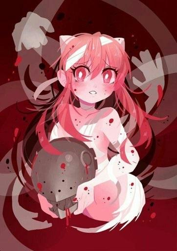 Милые тян с розовыми волосами и розовыми глазами (8)
