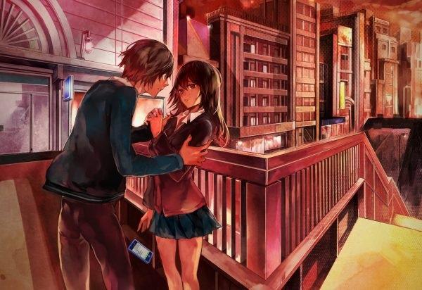 Обои на телефон девушка и парень аниме (21)