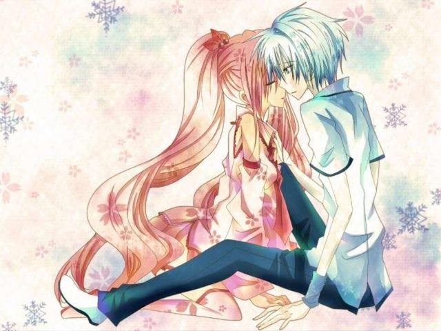 Обои на телефон девушка и парень аниме (23)