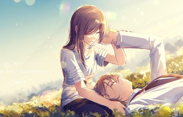 Обои на телефон девушка и парень аниме (5)