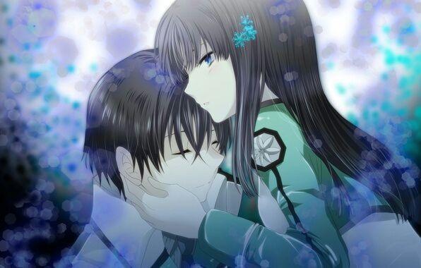 Обои на телефон девушка и парень аниме (7)