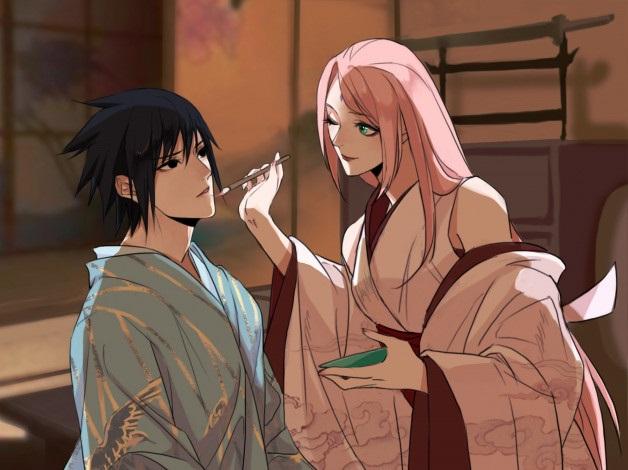 Сакура и Саске арт картинки в хорошем формате (26)