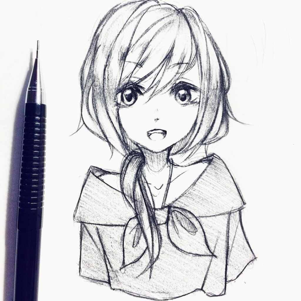 Самые красивые аниме карандашом легкие для срисовки (25 штук)