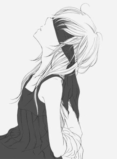 Черно белые грустные аниме арты (11)
