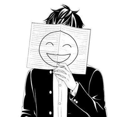 Черно белые грустные аниме арты (12)
