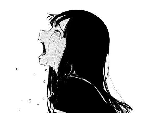 Черно белые грустные аниме арты (14)