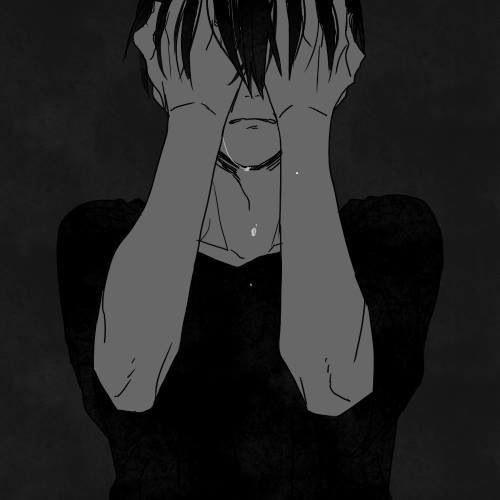 Черно белые грустные аниме арты (19)