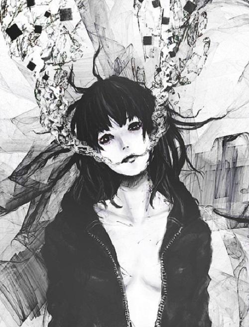 Черно белые грустные аниме арты (22)