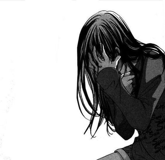 Черно белые грустные аниме арты (29)