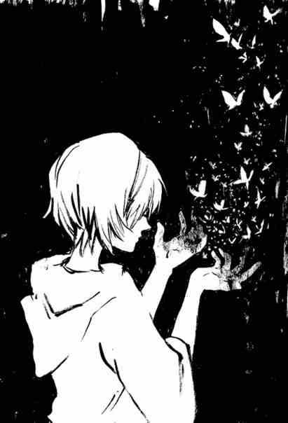 Черно белые грустные аниме арты (5)
