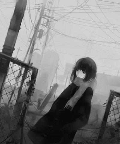 Черно белые грустные аниме арты (6)