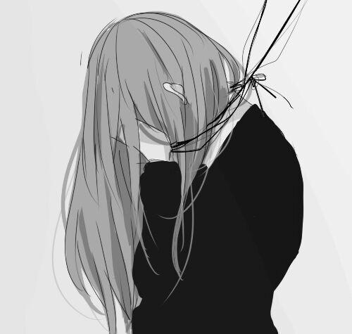 Черно белые грустные аниме арты (8)