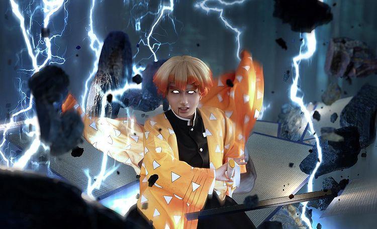 Еще один крутой косплей Зеницу из аниме Убица демонов