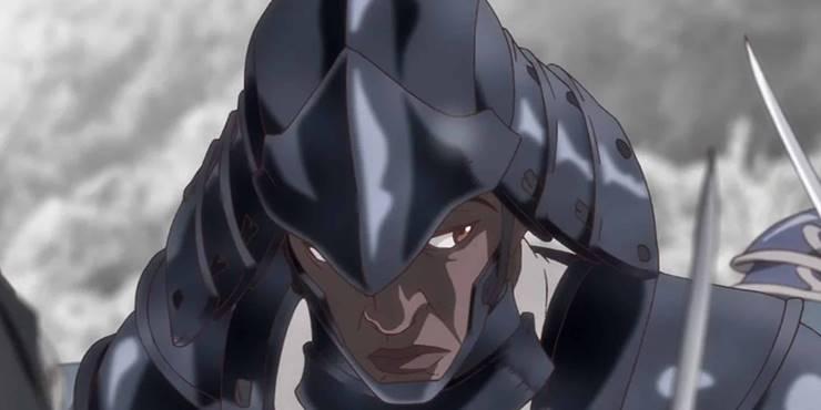 Момент аниме черного самурая