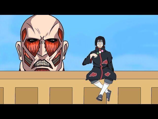 Фанат создает анимацию, в которой Итачи Учиха из Наруто сталкивается с Колоссальным Титаном.