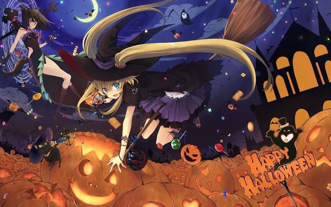 Картинки аниме девушки хэллоуин (9)