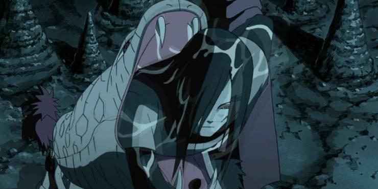Момент из аниме, Орочимару вылазит из рта своей змии