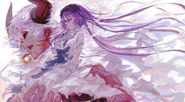 Топ арты аниме девушка демон с белыми волосами (11)