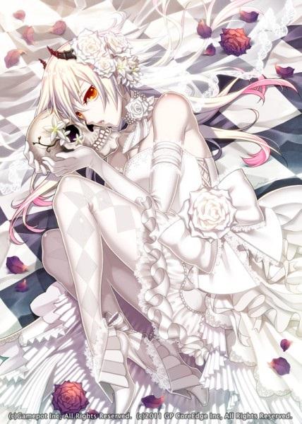 Топ арты аниме девушка демон с белыми волосами (13)