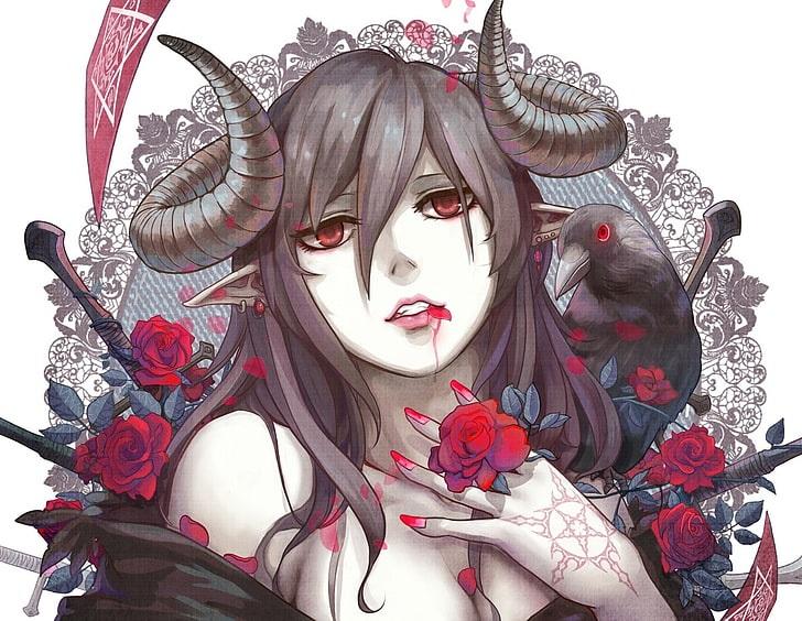 Топ арты аниме девушка демон с белыми волосами (17)