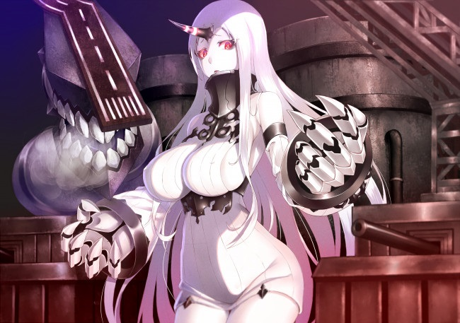 Топ арты аниме девушка демон с белыми волосами (24)