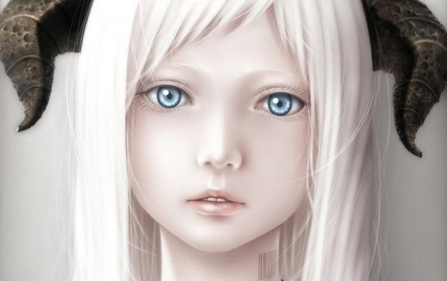 Топ арты аниме девушка демон с белыми волосами (5)