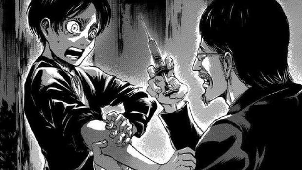 Гриша вводит Эрену сыворотку титанов, чтобы передать ему свои силы